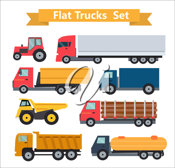 Flat Trucks Set Vector Illustration EPS10