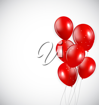 Set of Red Balloons, Vector Illustration. EPS10