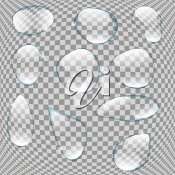 Realistic Water Drops Set On Transparent Background Vector Illustration EPS10