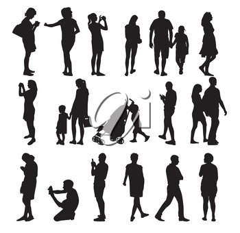 Set of Silhouette People. Vector Illustration. EPS10