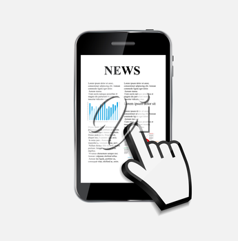 Abstract Design Mobile Phone with News Concept. Vector Illustration