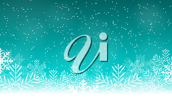 Abstract Beauty Christmas and New Year Background with Snow and Snowflakes. Vector Illustration EPS10