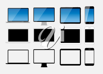 Abstract Design Mobile Phone, Laptop and Tablet PC. Vector Illustration.