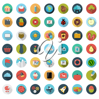 Set of Flat Design Concept Vector Illustration With Long Shadow. EPS10