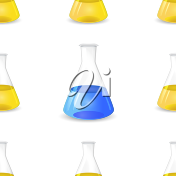 Conical flasks seamless pattern, 3d lab equipment, scientific vector background, eps 10