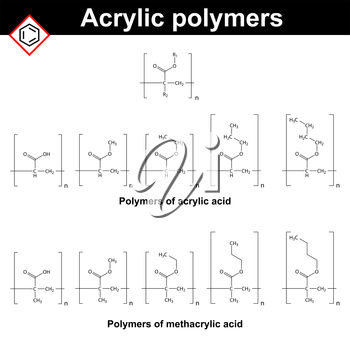 Polymers of acrylic and methacrylic acid, 2d illustrations of chemical molecules, vector of molecular structure, eps 8