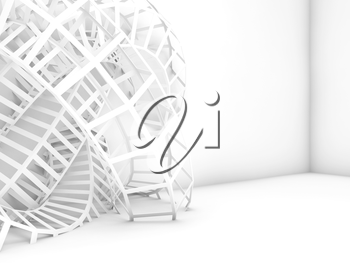 Abstract digital background, white wire-frame structure installation. 3d illustration