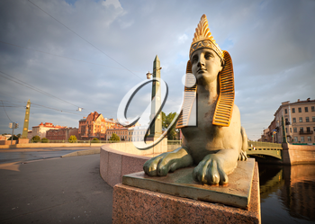 Sphinx chimera on Egyptian Bridge over Fontanka River in Saint-Petersburg, Russia