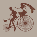 Beautiful illustration with happy married couple on the bicycle