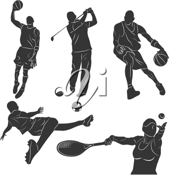 Set of monochrome silhouettes of of sportsmen in different poses in the game. Vector illustration