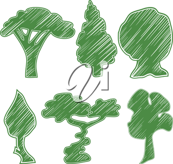 Set of icons trees green. Drawn in the style of a pencil. Bansal, acacia, hazel, oak, spruce. Vector illustration