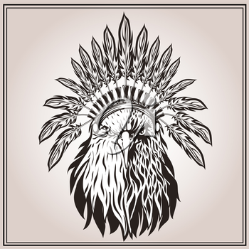 American Eagle in ethnic Indian headdress with feathers. In graphic stencil style. Totem animal. Vector illustration