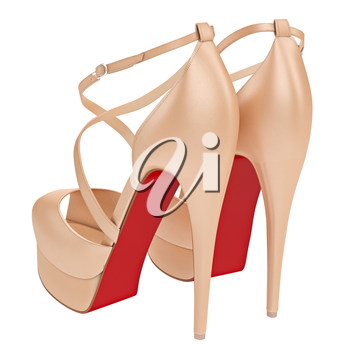 Beige leather sandals with heels. 3D graphic object on white background isolated