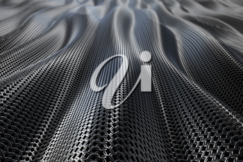 Dark metallic chain armorabstract wave curve background. 3D rendering