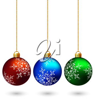 Three multicolored christmas balls hang on the chain isolated on white background