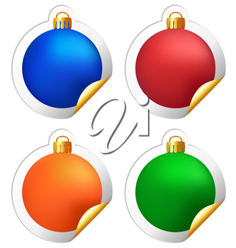 Four multicolored Christmas balls stickers isolated on white background