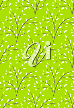Seamless Bright Fun Abstract Spring Summer Trees Pattern Isolated on Green Background