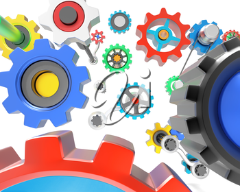 Mechanism of various colorful gears on white