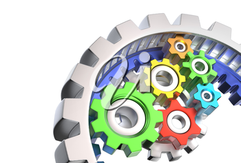 Mechanism of various colorful gears isolated on white