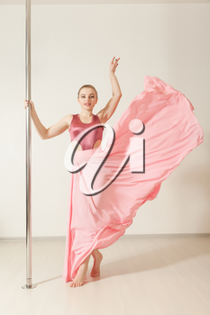 Sexy slim strip dancer exercising with pole in dance studio. Attractive professional poledance girl posing in beautiful pink dress.