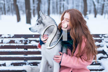 Happy woman sitting on the bench with siberian husky, snowy forest on background. Cute girl hugs with charming dog. Real friendship with pet