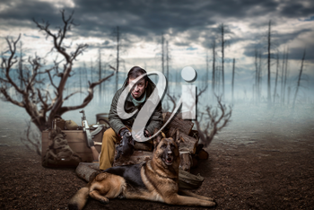 Stalker soldier and dog, rifle, friends in post apocalyptic world. Post-apocalypse lifestyle on ruins, doomsday, judgment day
