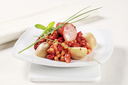 Red beans and corn in tomato sauce with sausage and potatoes