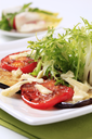 Grilled aubergine and tomato with salad greens and cheese