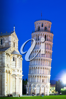 Leaning Tower of Pisa and the Duomo at night, Pisa, Italy, Europe