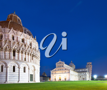 The Pisa Baptistry of St. John, the Duomo and the Leaning Tower of Pisa at dusk, Campo dei Miracoli, Pisa, Italy, Europe