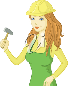 Beautiful Cartoon Girl Worker in a Helmet with a Hammer. Vector