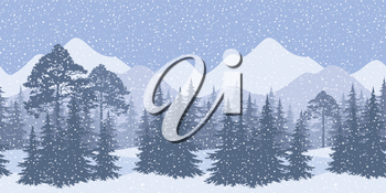 Seamless Horizontal Winter Mountain Landscape with Spruce Trees and Snow, Silhouettes. Eps10, Contains Transparencies. Vector