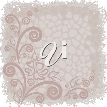 Abstract background with outline symbolical floral pattern. Vector
