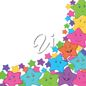 Cartoon colorful stars smilies on white background. Vector