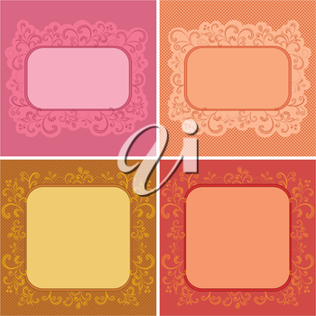 Set abstract floral backgrounds, symbolical flowers and frames. Vector