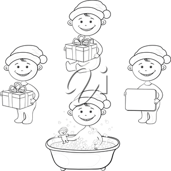 Set Christmas cartoon children in Santa hat: washing in the bathroom with a teddy bear, with the gift boxes and poster, black contour on white background. Vector