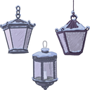 Set vintage street non-luminous lanterns with extinct candles, covered with snow. Vector