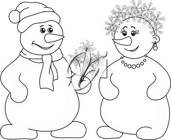 Christmas holiday cartoon, snowballs man and woman with a bouquet of flowers - snowflakes, black contour on white background. Vector illustration