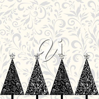 Seamless horizontal background for holiday design, Christmas fir trees with stars, outline floral pattern, cartoon character and objects white, black and grey silhouettes. Vector
