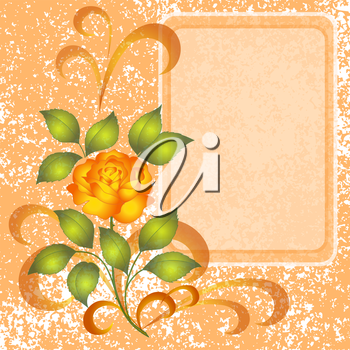 Holiday floral background with flowers rose and placard. Eps10, contains transparencies. Vector