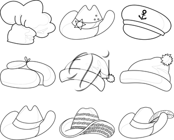 Set Various Hats Santa Claus, Cook, Sheriff, Musketeer, Captain and Others Contours. Vector