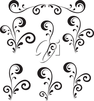 Set abstract floral patterns, black contour on white background. Vector