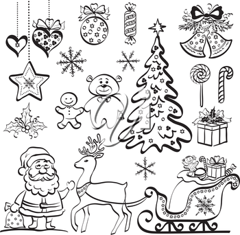 Christmas elements for holiday design, set of black cartoon silhouettes on white background. Vector