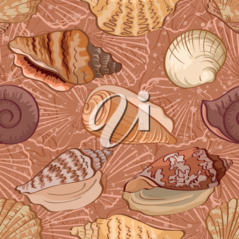 Seamless background, pattern with marine seashells and contour. Vector