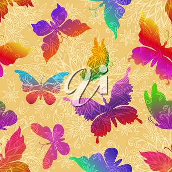 Seamless Pattern, Exotic Colorful Butterflies Silhouettes on Tile Background with Symbolic Flowers Contours. Vector