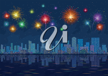 Urban background, night cityscape with skyscrapers and bright holiday fireworks in the starry sky reflecting in blue sea. Vector