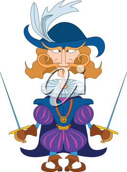 Fantasy hero, brave count fencer standing with two swords and stern look, funny comic cartoon character. Vector