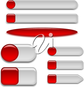 Set of glass red buttons sliders, computer icons of different forms for web design, isolated on white background. Vector eps10, contains transparencies