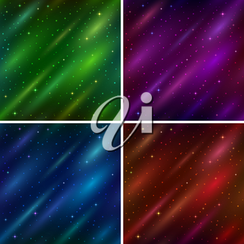 Set of abstract space seamless backgrounds with stars and color cosmic rays, blue, red, green and lilac. Eps10, contains transparencies. Vector