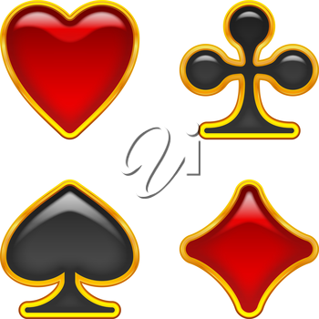 Set of card suits, glass buttons with golden frames of red and black color for web design. Vector eps10, contains transparencies